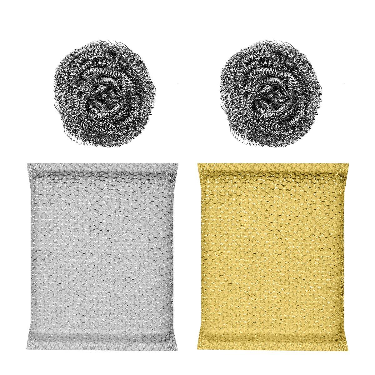 Juego de 2 esponjas y 2 esponjas de acero para limpieza de cocina, limpiador de esponja, sartén, cepillo, esponja para lavar platos, esponja (Color al azar)