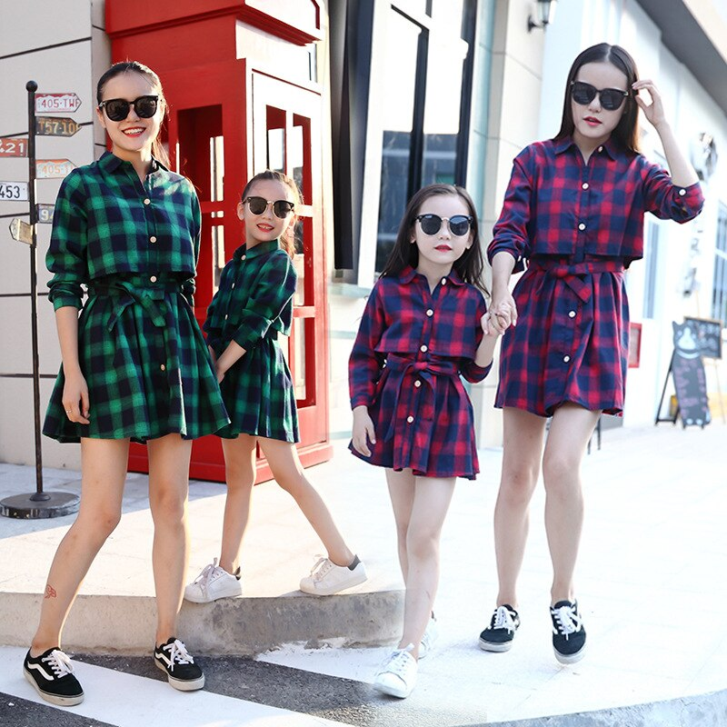 Ppxx outono inverno xadrez menina vestido feminino camisa mãe filha vestidos família roupas combinando roupa família olhar
