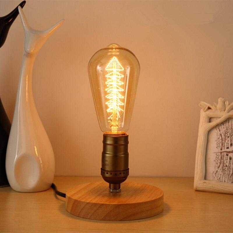 Creativo sólido de madera lámpara de mesa retro lámpara de noche para dormitorio Edison bombilla 110/220V loft lámparas nórdicos E27 luz de la noche de luz LED CL523