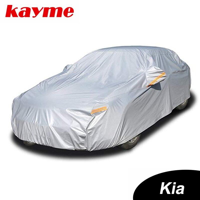 Kayme, cubiertas de aluminio impermeables para coche, súper protección contra el sol, polvo, lluvia, cubierta universal para coche, suv, protección para KIA