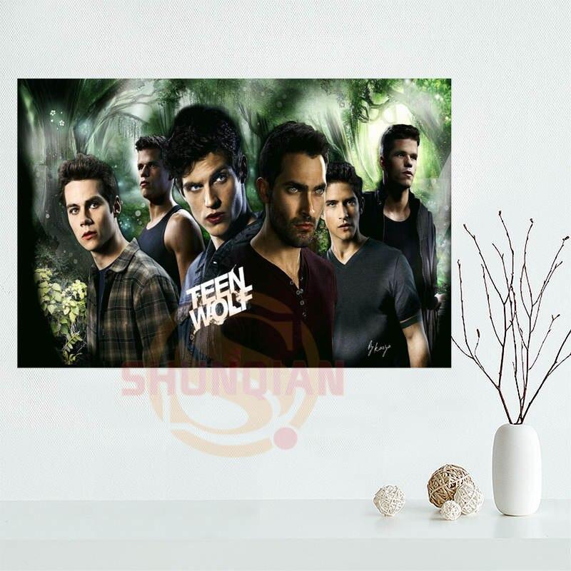 Impresión de la tela de impresión del cartel de satén personalizado del lobo adolescente