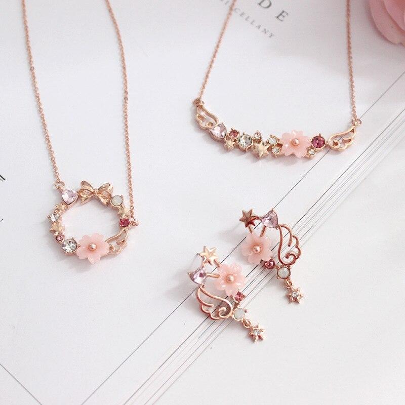 card captor cardcaptor sakura wreath wing shell necklace earring jewelry