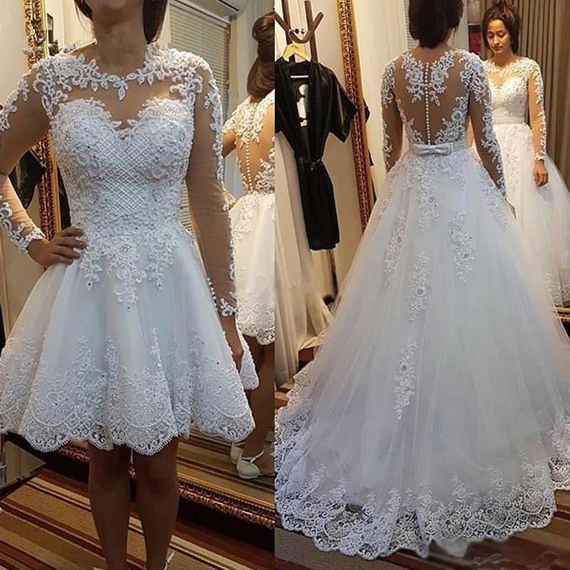 2020 vestido de baile vestidos de casamento trem destacável rendas apliques pérolas vestidos de noiva 2 en 1 vestido de novias feito sob encomenda