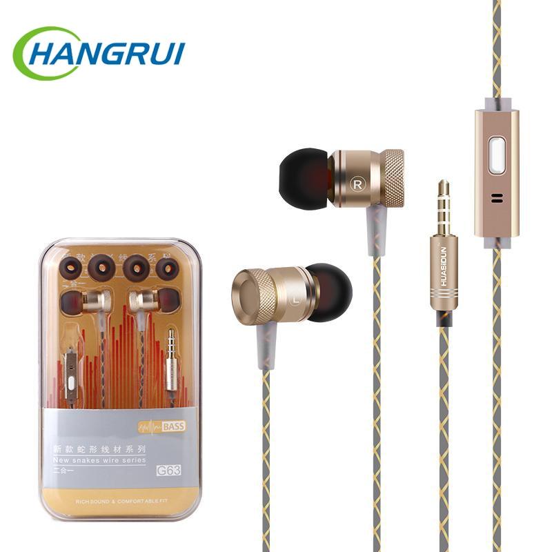 Original G63 metall bass ohrhörer Mikrofon Stereo Bass kopfhörer für iPhone X Für Xiaomi Redmi Hinweis 5 Pro kolben Sport kopfhörer