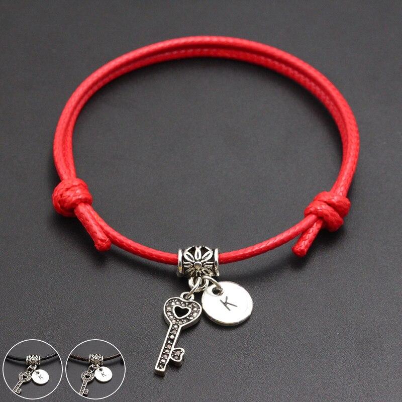 A-Z English Alphabet Key To Your Heart Charm Red Thread String Bracelet Handmade Diy Lucky Rope Bracelet For Women Men Jewelry