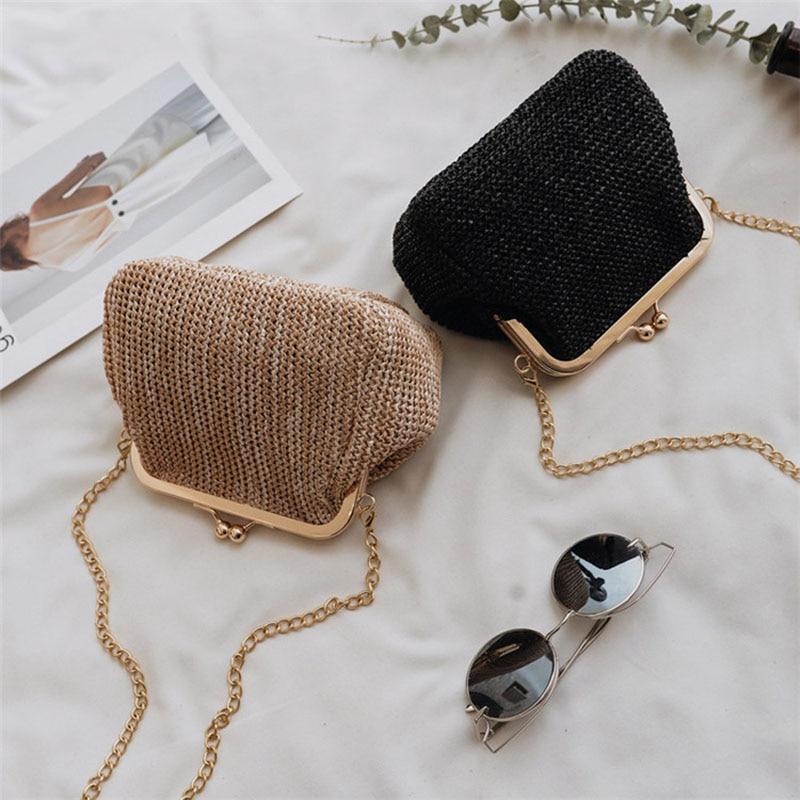 FGGS-Small Crossbody Boho Bags For Women Evening Clutch Bags Hasp Ladies Handbag Female Straw Beach Rattan Women Messenger Bag
