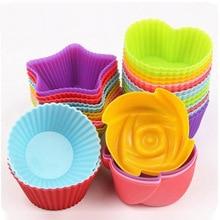 Moule à Cupcake et Muffin en Silicone   Nouvelle collection de 6 pièces de gâteaux, tasse à gâteaux, outil de cuisson, moule à Cupcake et Cupcake en Silicone pour le bricolage de couleur aléatoire