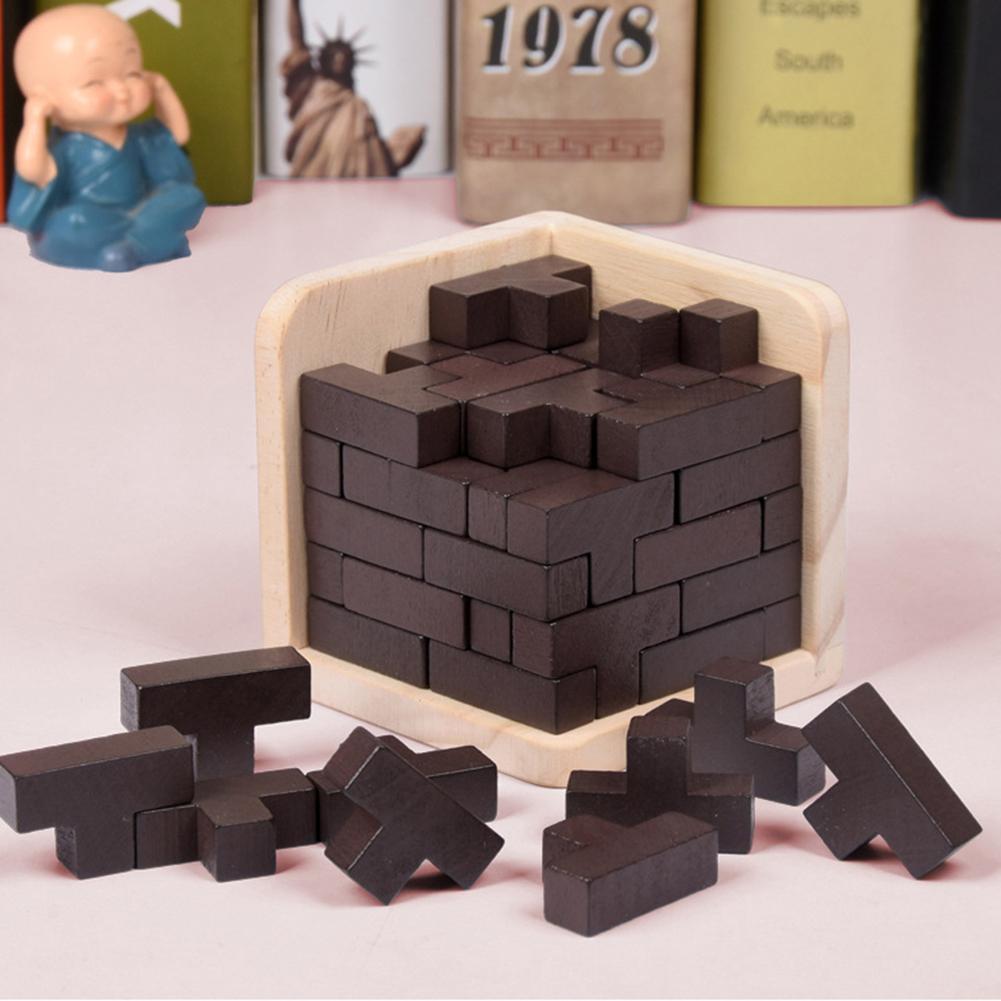 54 unids/set en forma de T de madera 3D rompecabezas de construcción DIY montar bloques magnéticos Luban juguetes de interbloqueo cubos Juguetes Divertidos