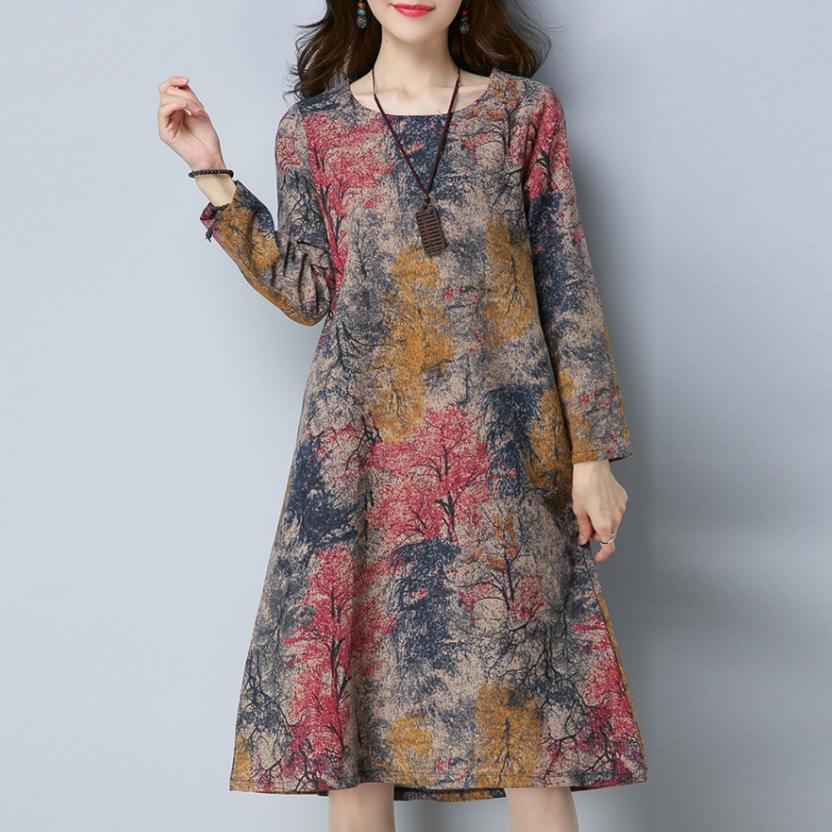 Vestido de KANCOOLD a la moda de manga larga con cuello redondo y bolsillos, vestido de algodón de lino estampado, vestido Casual suelto para mujer 2018AUG7