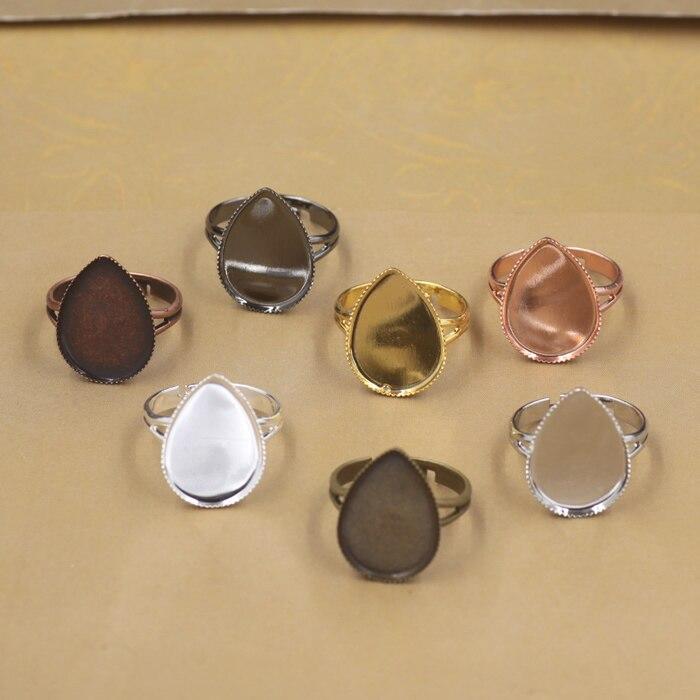10 sztuk/partia pierścień ustawienia kropla wody Cabochon podstawy Bezel taca Fit 13x18mm/18x25mm cabochon Cameo DIY Finger pierścienie ustalenia