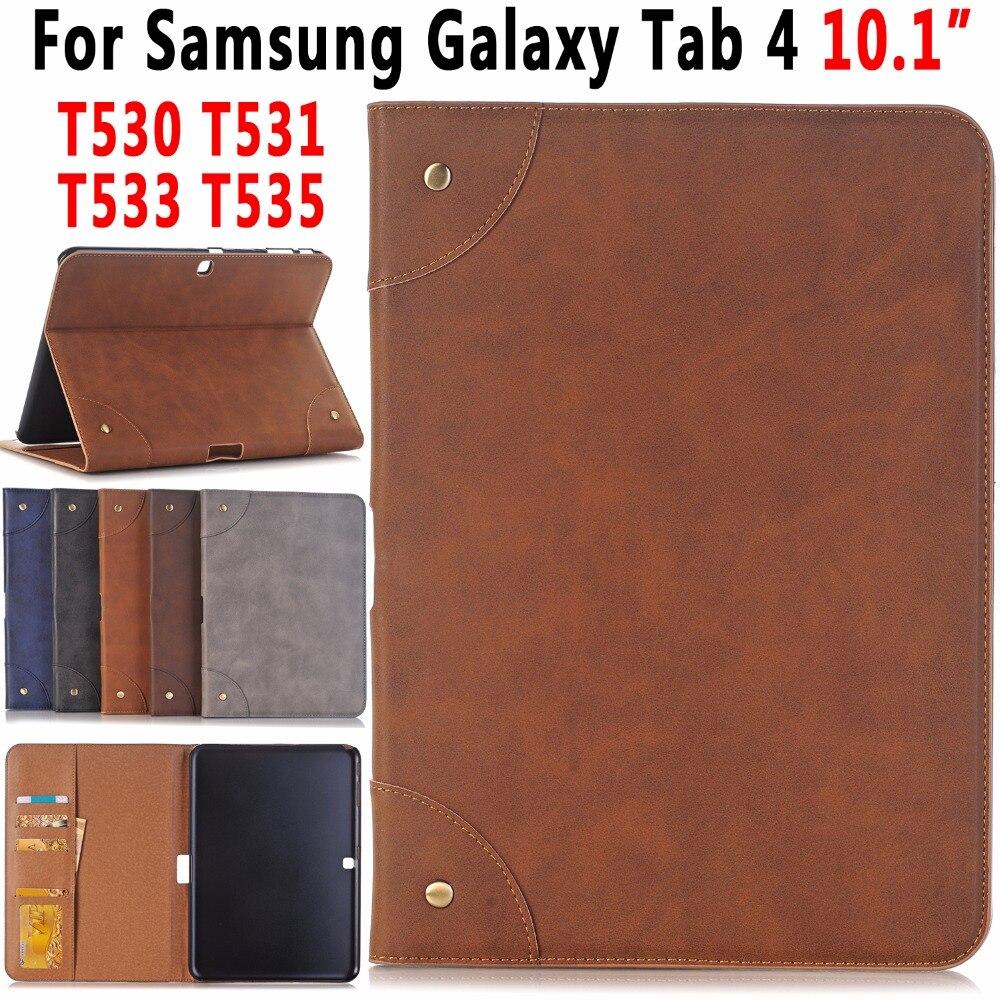 Funda de cuero Retro para Tablet con soporte para Samsung Galaxy Tab 4 Tab4 10,1 T530 T531 T533 T535