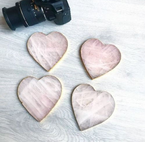 Natural Rose quartz crystal adiabatic Cup Mat Crystal Plate Heart shaped Coaster Mineral Specimen Wedding Decoration Gift