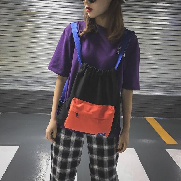 Mochila de Color de tendencia japonesa, bolso de lona a la moda Unisex, mochila ligera para estudiantes, bolsa de pareja bolso para viajes pequeño