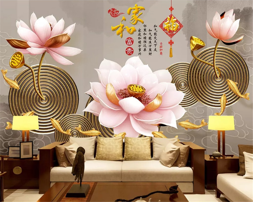 beibehang Custom fashion classic environmentally friendly silky papel de parede 3d wallpaper 3D embossed lotus TV background beibehang new papel de parede 3d wallpaper chinese style simple wallpaper relief dream watercolor lotus lotus background tapety