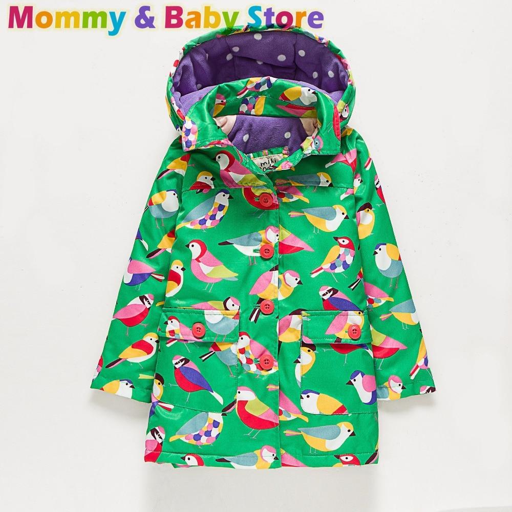ل 2-8 سنة الفتيات طويلة سترة معطف الخريف العلامة التجارية خندق لفتاة رشاقته سترة واقية الأخضر الطيور المطبوعة الأطفال الملابس