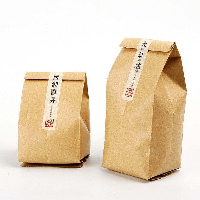 100 Uds. Refuerzo lateral Kraft con bolsas de papel, bolsas de papel Kraft con refuerzo lateral, embalaje de té, Envío Gratis, bolsas de papel Kraft