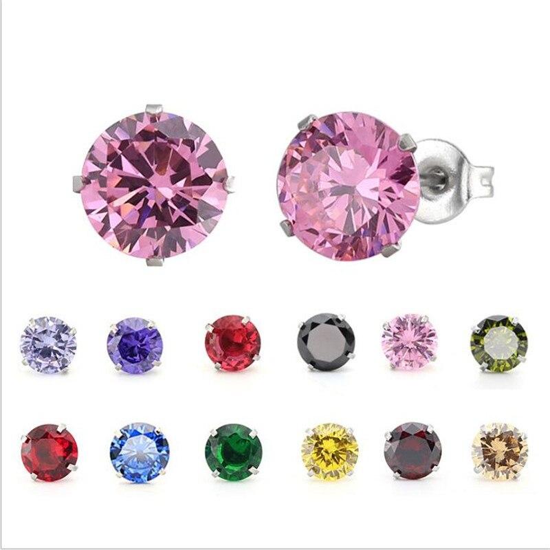 Pendientes de circonita de titanio PE85, 7 MM, redondos, coloridos, pendientes de cristal, joyería de acero inoxidable