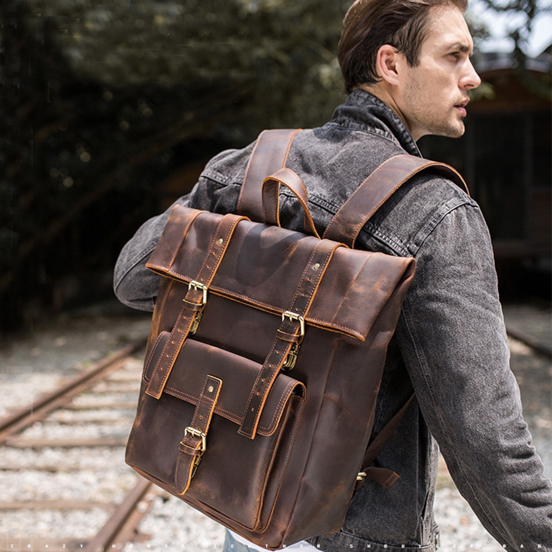 Mochila para hombre de gran capacidad, mochila de viaje clásica de piel auténtica de crazy horse, mochila grande de 17 pulgadas para ordenador portátil, mochila escolar, mochila de hombro