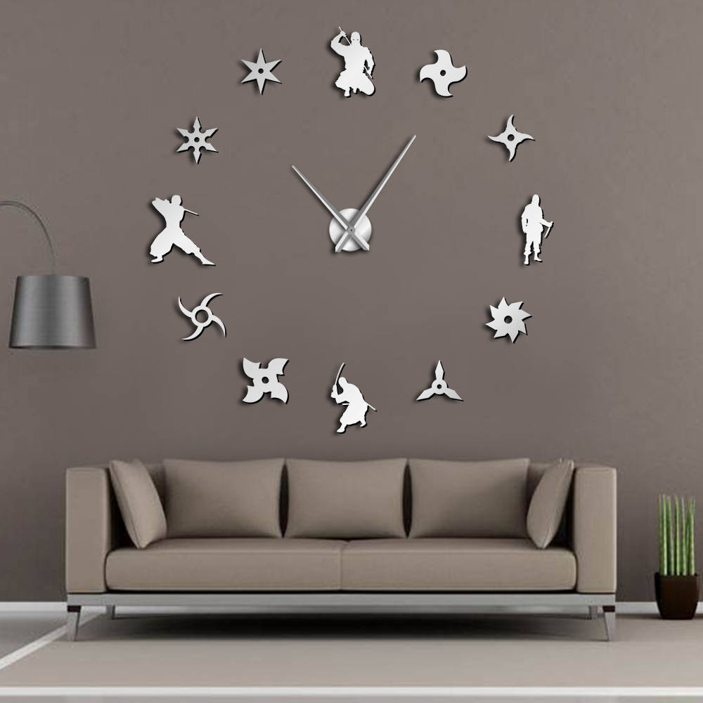 Reloj de pared grande Ninja japonés DIY dardos Arma Oculta sin marco Reloj de pared gigante 3D espejo grande pegatina de pared reloj de artes marciales