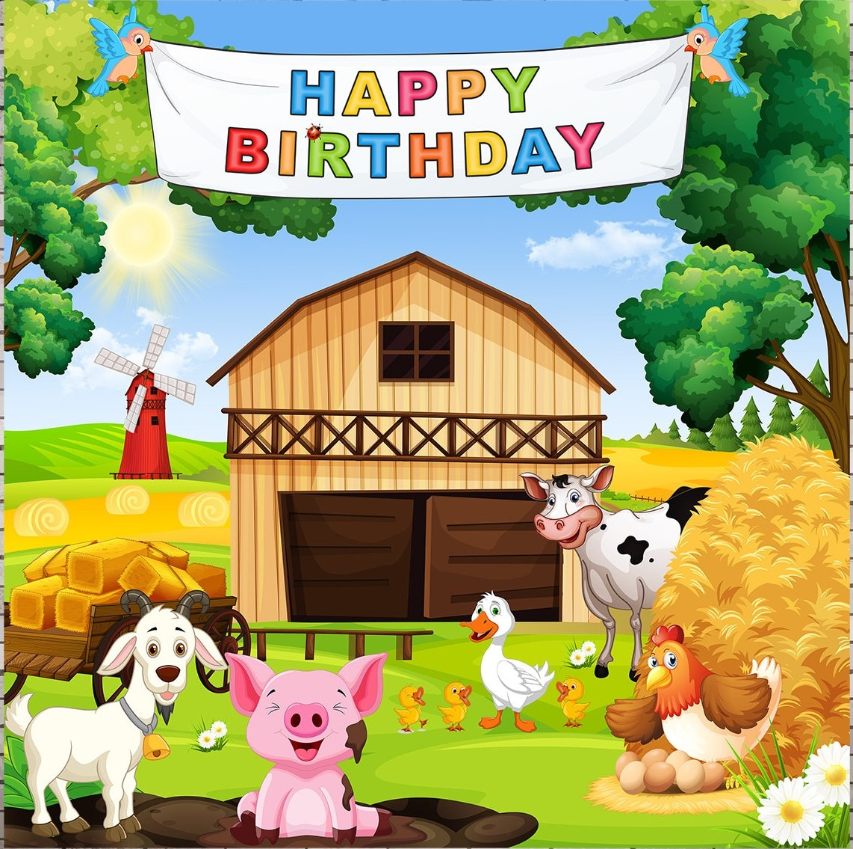 Fondos de vinilo de tela de alta calidad de impresión por ordenador de animales de granja barnyard Feliz cumpleaños árbol Fondo para fotografía de fiesta