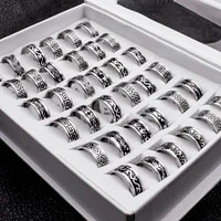 20 pieceslot vintage retro style stainless steel rings for men and women fashion round bulk punk rings wholesale