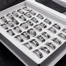 20 pièces/lot. Anneaux Vintage en acier inoxydable de Style rétro pour hommes et femmes.