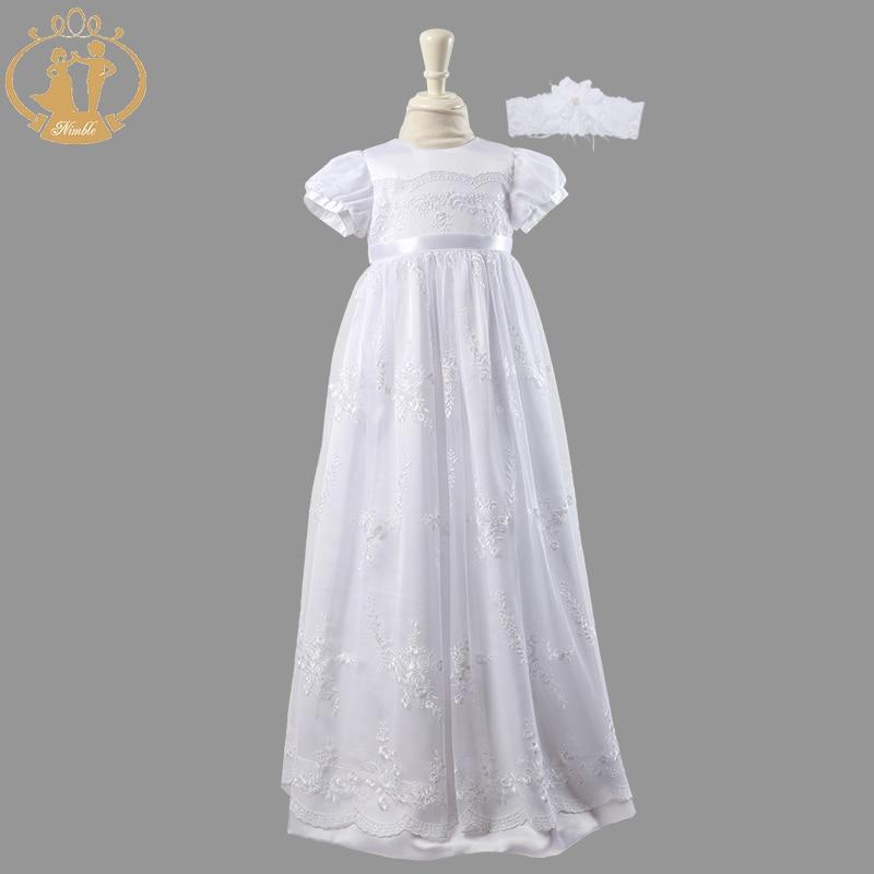 Ágil bebê recém-nascido meninas batismo vestidos de renda branca bordado baptismal floor-length vestido infantil vestidostwo peças