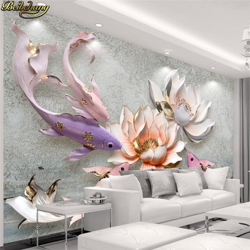 beibehang  Custom Photo Wallpaper Mural Wallpaper 3D Relief New Floral Treasure Peony Jewelry Stereo Background papel de parede beibehang new papel de parede 3d wallpaper chinese style simple wallpaper relief dream watercolor lotus lotus background tapety