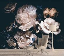 Papier peint Mural auto-adhésif en soie Rose   Papier peint 3d Contact naturel, décoration de maison pour salon, peintures murales dart 3d