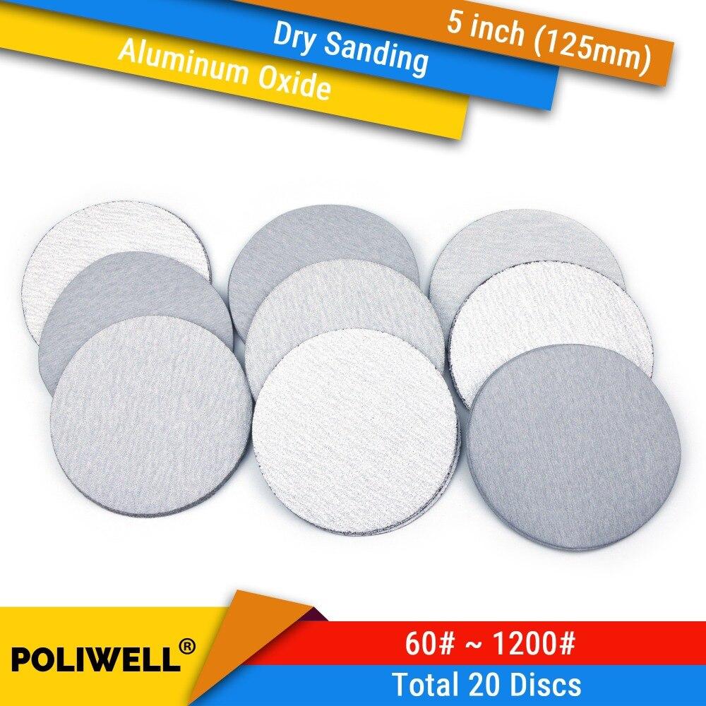 Discos de lijado en seco de gancho y bucle de óxido de aluminio de 5 pulgadas y 125mm 60-1000 papel de lija de gravilla para lijadora de carpintería 20 piezas de papel