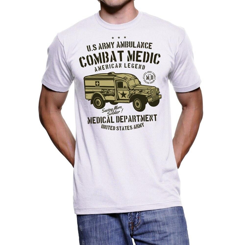 100% de algodón de manga corta Camiseta UOMO US ejército ambulancia camiseta