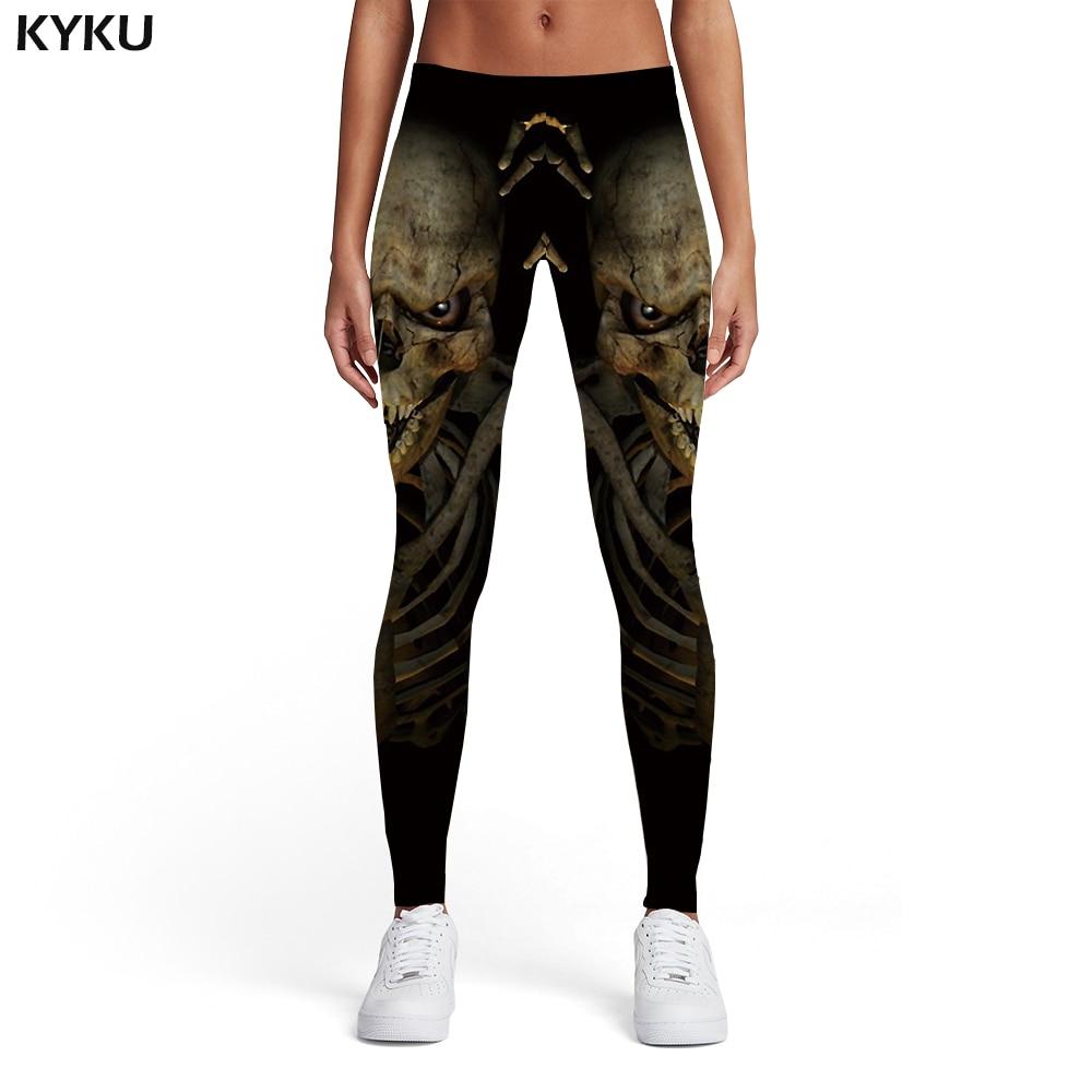 KYKU Brand Skull Leggings Women Black Printed pants Skeleton Sport Punk Sexy Gothic Leggins Womens Pants Fitness