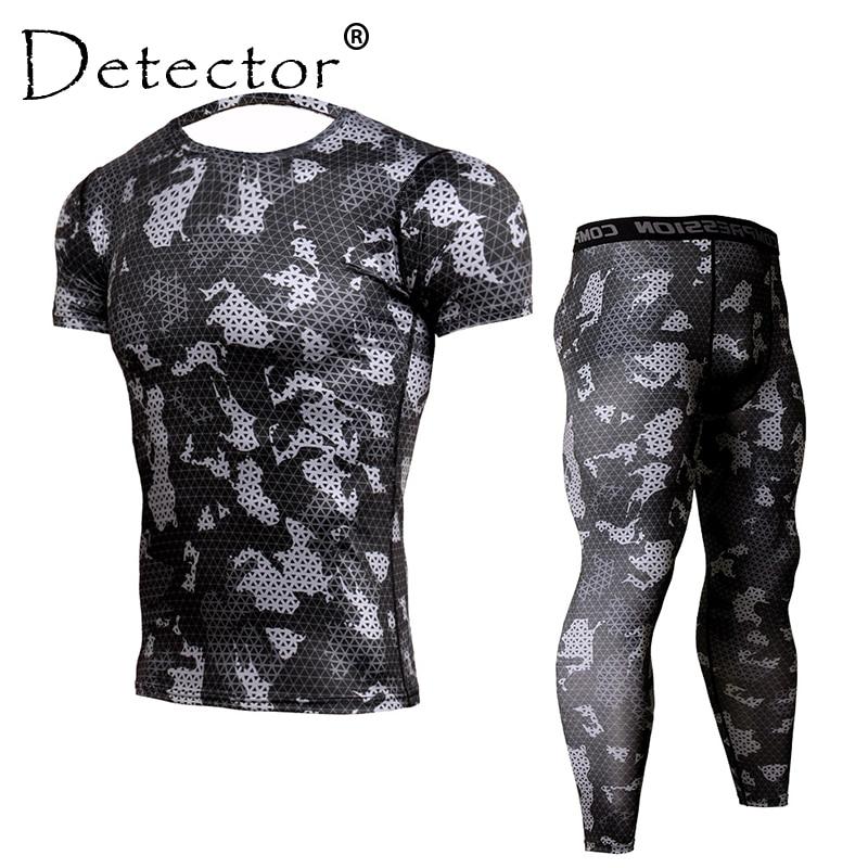 Detector Mens camiseta de compresión pantalones Set entrenamiento Fitness ropa deportiva culturismo apretado corto mangas camisas Leggings traje deportivo