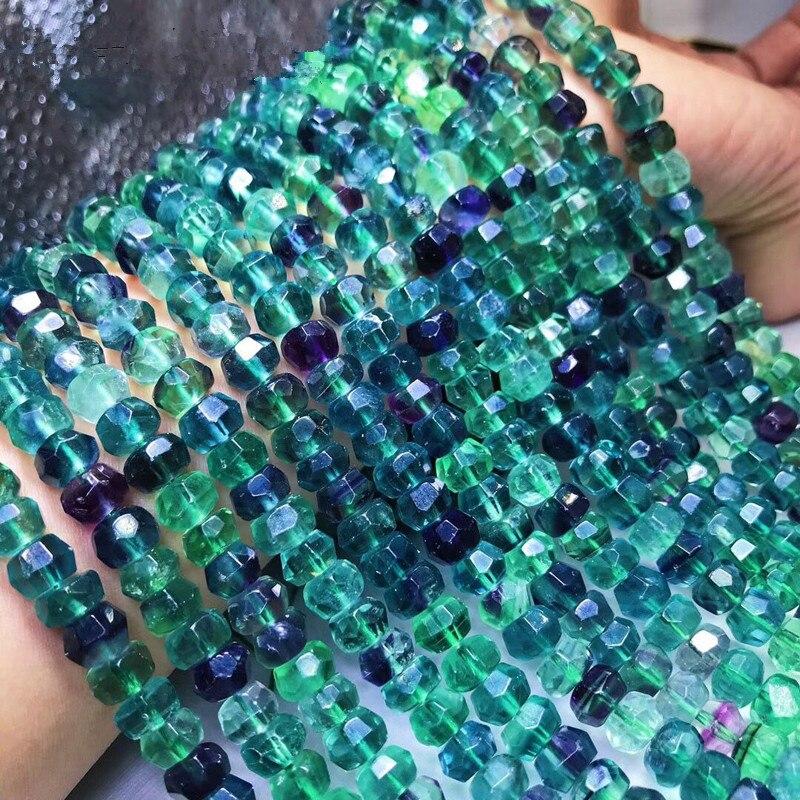 Fluorite roundel facetado 8*5mm para diy jóias fazendo grânulos soltos fppj grânulos por atacado natureza pedra preciosa