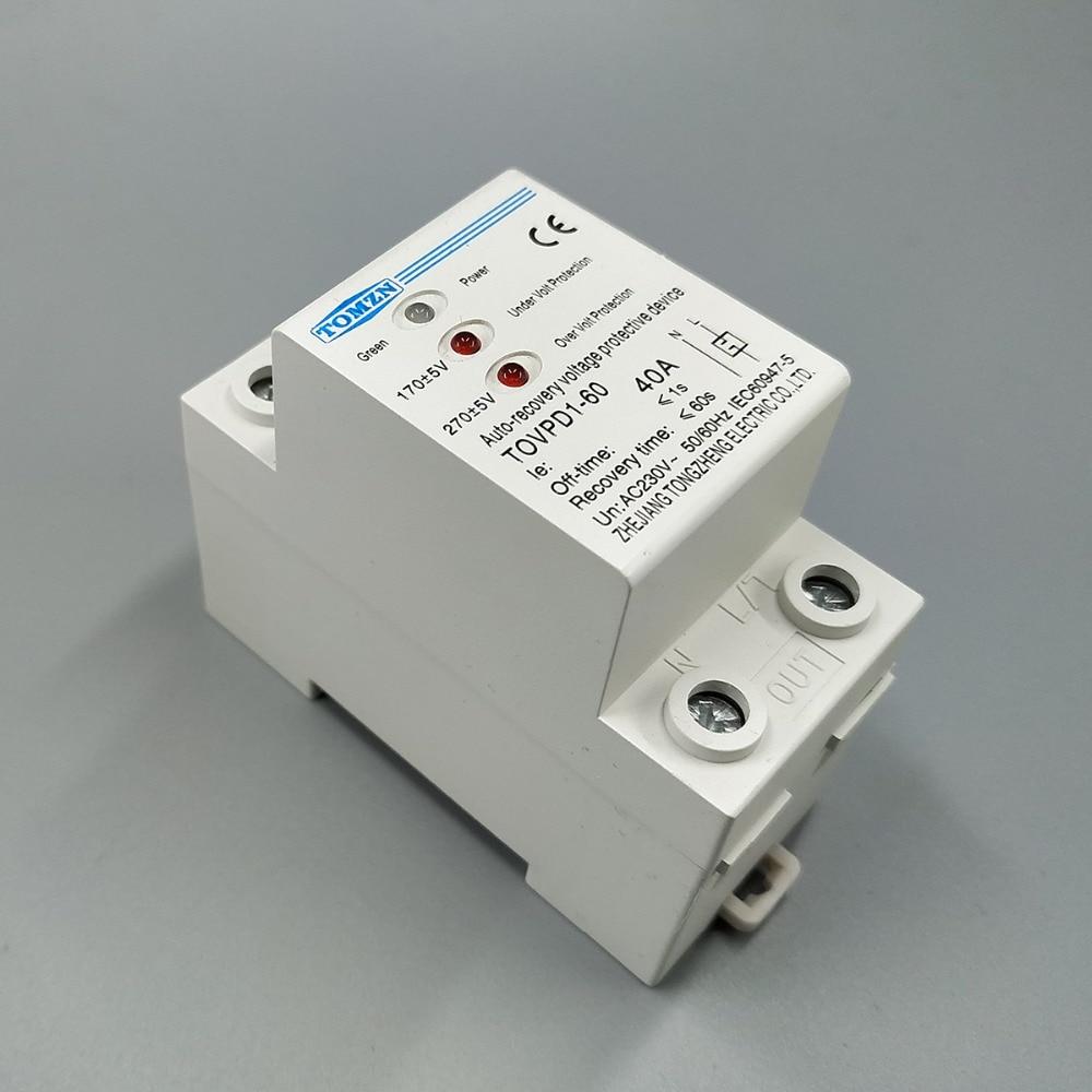 40A Din rail 3 230V 40A dispositif de protection   Remontage automatique de surtension et de sous-tension, protecteur de dispositif, relais de protection