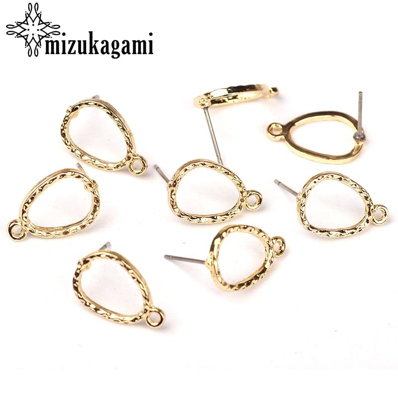 20pcs/lot 10mm Gold Zinc Alloy Hollow Water Drop Earring Base Connectors Linker For DIY Earrings Jewelry Making Accessories