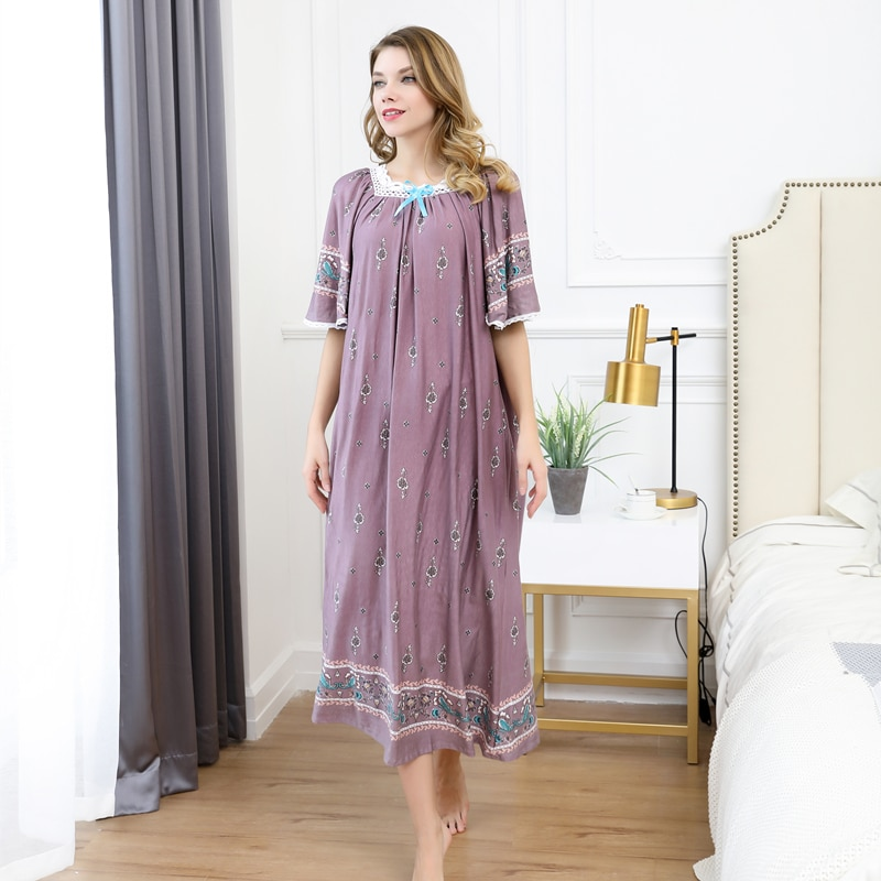 Mulheres verão Sexy Modal de algodão Pamjamas Pijamas Night Dress Lace saias Longas nightgowns pijamas plus size noite vestido de 100 kg