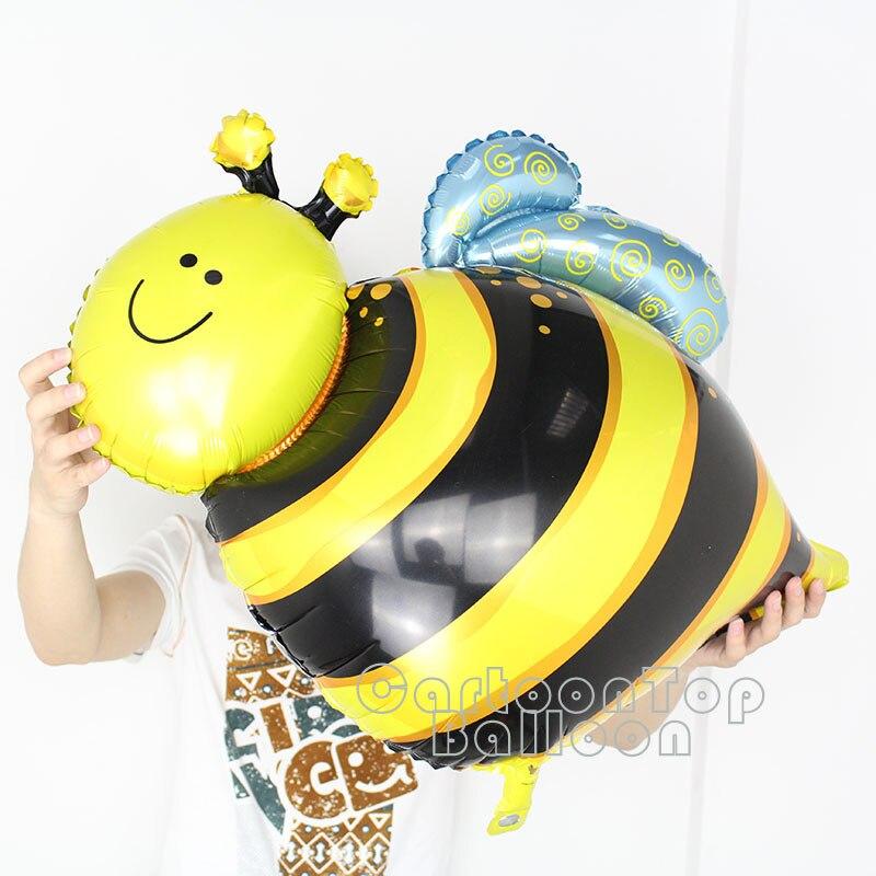 100% buena calidad 10 unids/lote abeja grande globos de papel de aluminio mylar globo de helio en forma de insectos para suministros para fiesta juguetes para niños