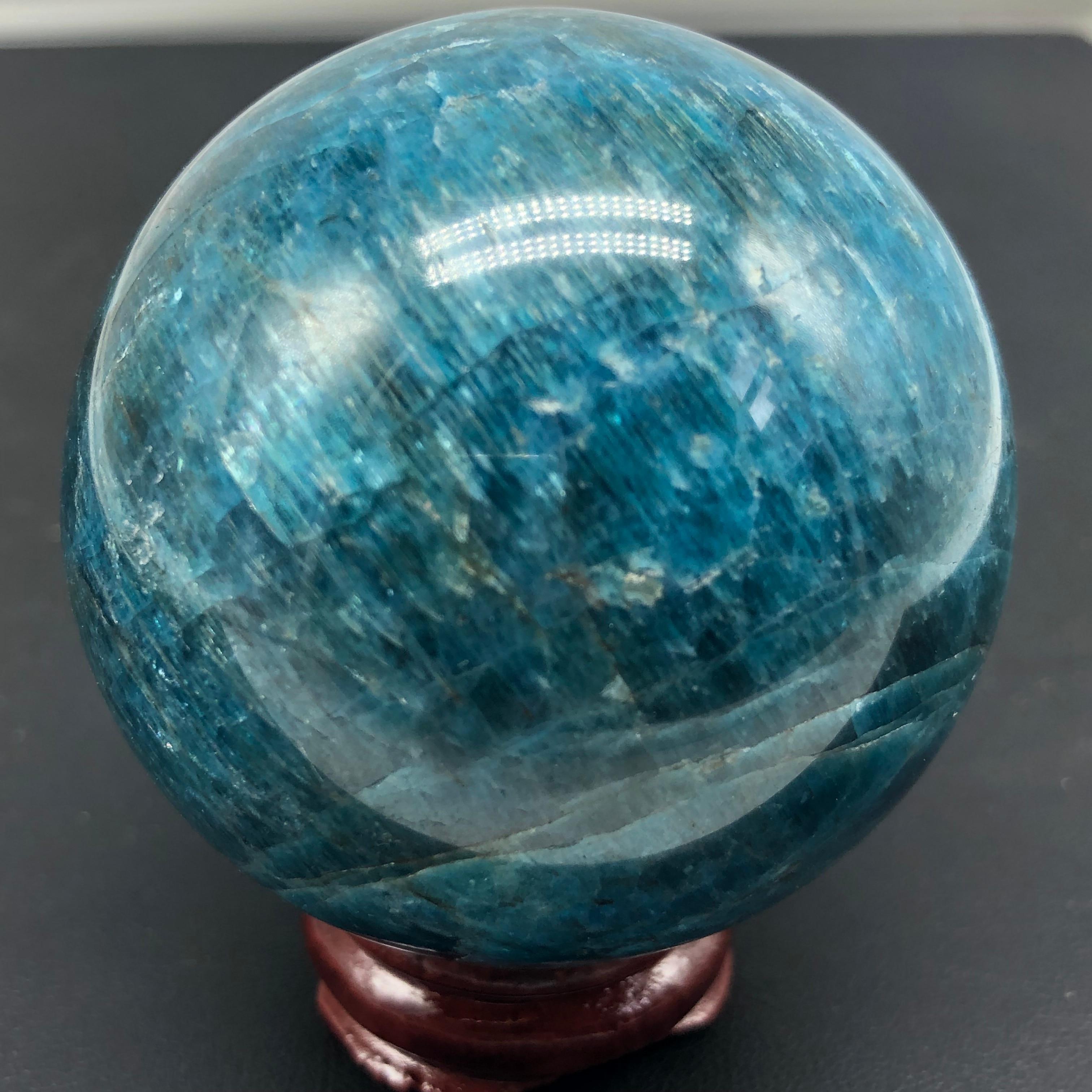 50-55 AZUL APATITA Cristal Bola Esfera w/Stand-Madagascar