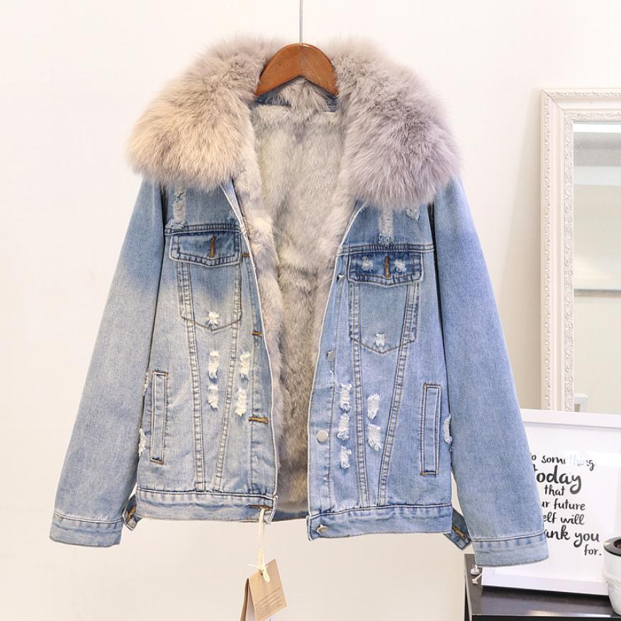 Abrigo cálido a la moda de Invierno para mujer, cuello de piel de zorro Natural + forro de pelo de conejo verdadero, chaqueta vaquera gruesa para mujer, chaqueta de pelo suelto L1784