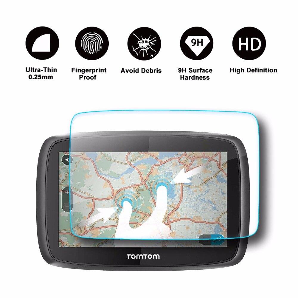 Protector de pantalla ruiya TomTom Go 500 510 5000 5100 circular pantalla táctil de navegación de 5 pulgadas, película protectora de vidrio templado 9H