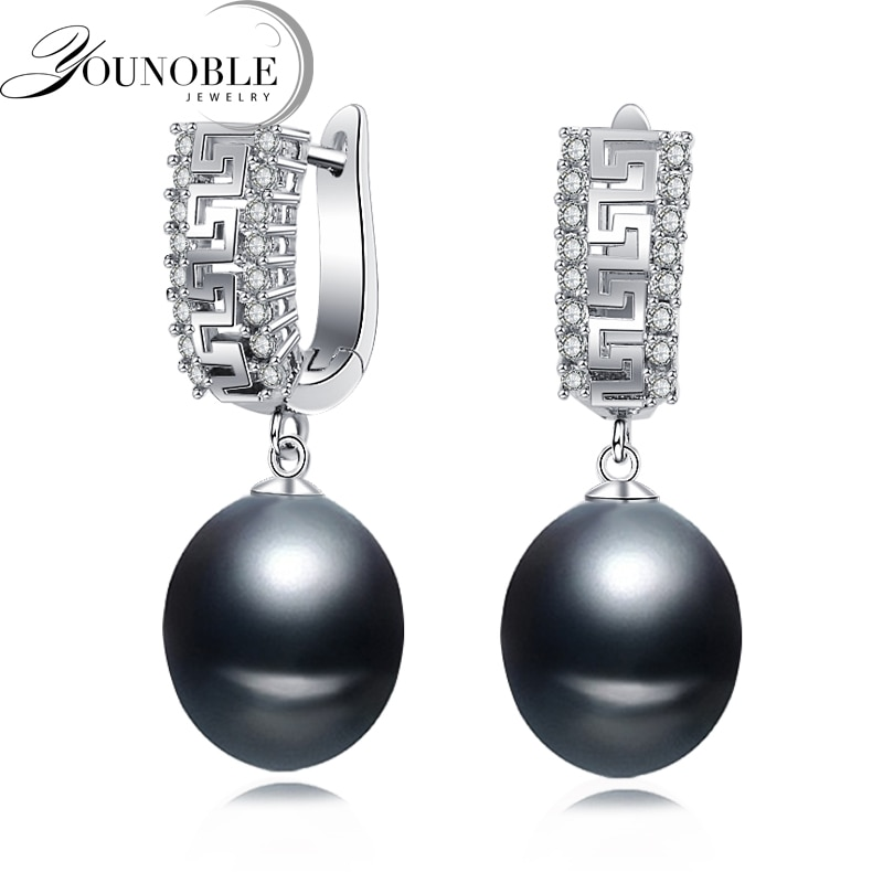 Pendientes de perlas naturales de agua dulce para mujer, pendientes de plata de ley 925 para novia, regalo de fiesta de perlas