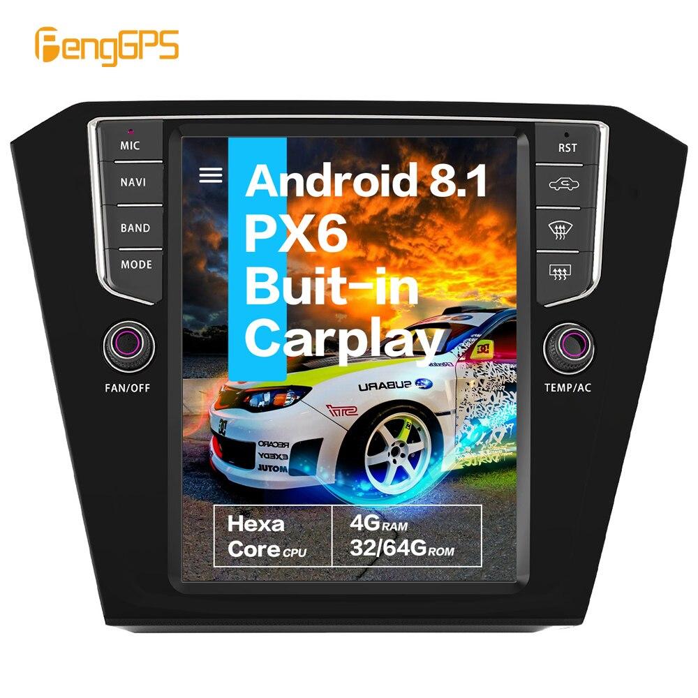 Pantalla vertical de 10,4 Tesla, Android 8,1, 4GB de RAM, control por voz, Radio de coche con CARPLAY incorporada B8 para VW Passat 2015 + GPS Navigatio