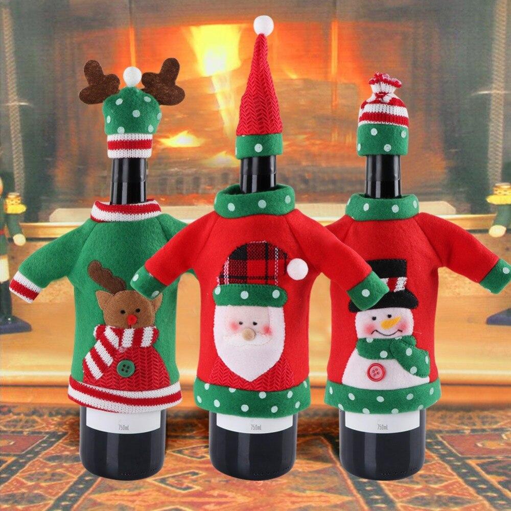 OurWarm fieltro funda navideña para botella de vino de Navidad Santa Claus vino Topper cubierta decoración para fiesta de Navidad Año Nuevo 2019