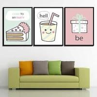 Creatif dessin anime gateau a la mode decor a la maison pas de cadre peinture Simple affiche sur toile peinture espace mur Art pour salon