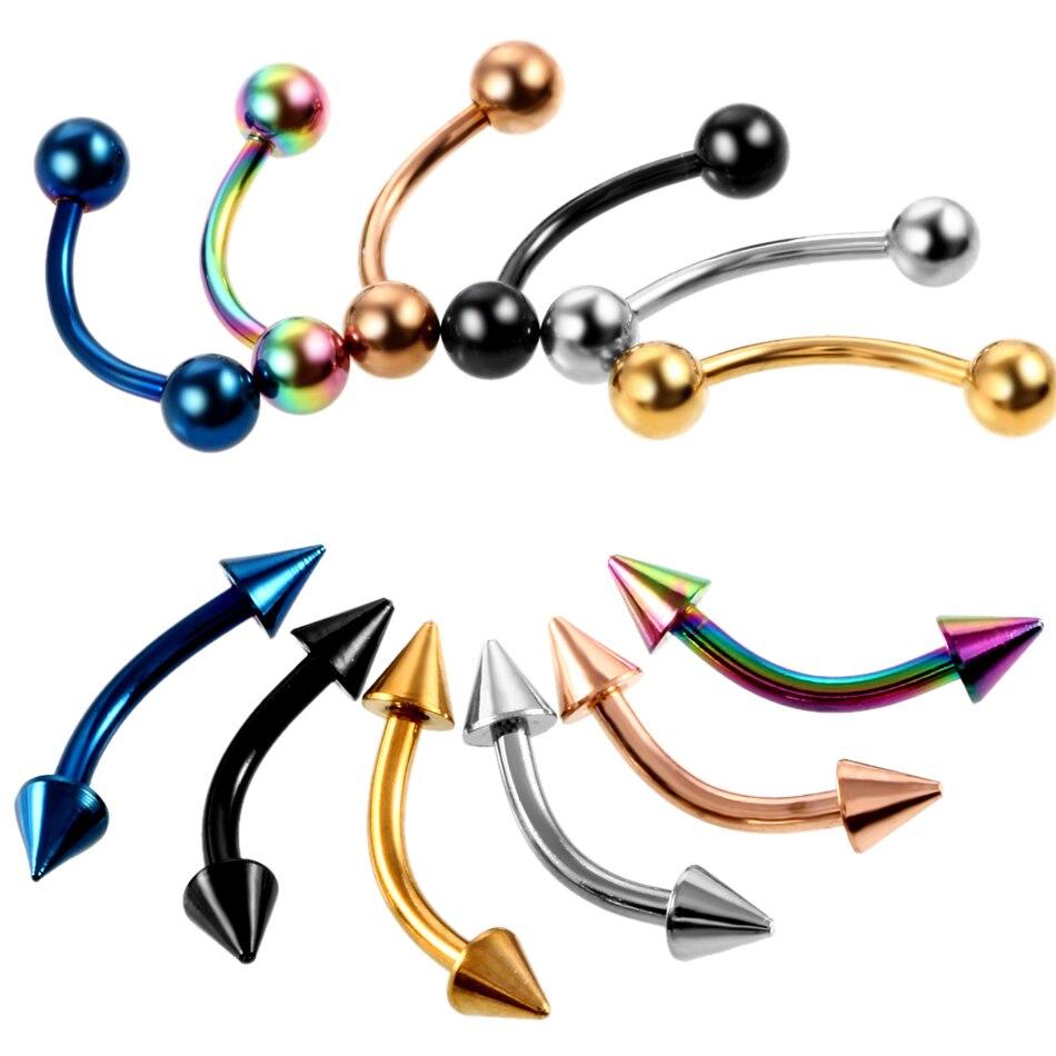 2 unids/lote de Piercing de acero para ceja de varios colores, Piercings curvos de plátano, joyería para el cuerpo de 16G