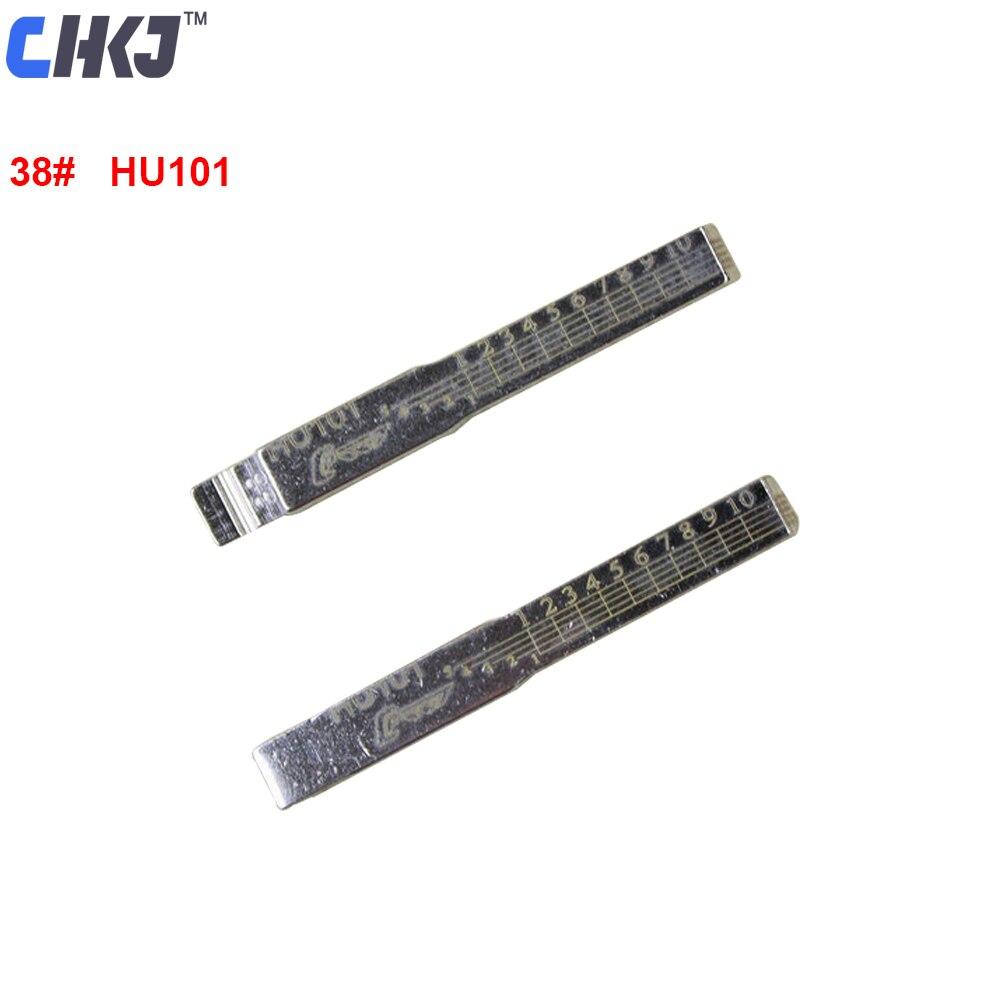 CHKJ 10 unids/lote HU101 con línea grabada clave sin grabar NO.38 para Volvo S40 V40 Ford Jaguar Max Land Rover escala cizallando dientes hoja de llave