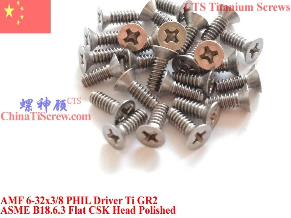 Parafusos de titânio 6-32x3/8 Plana Cabeça CSK 2 # Phillips Motorista Ti GR2 Polido 50 pcs