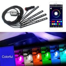 KEEN 12 v 4 stks/set APP bluetooth controle kleurrijke 5050 12smd 12 cm LED auto-interieur voet sfeer licht strip voor alle auto LED