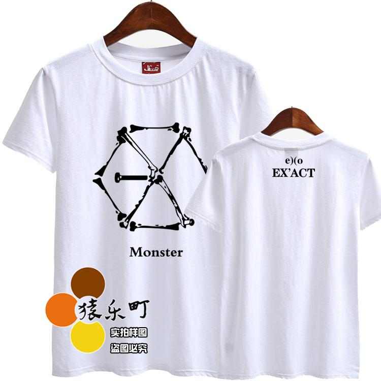 Kpop verano estilo exo volver álbum exact monster estampado cuello redondo manga corta Camiseta hombres mujeres kpop camisetas